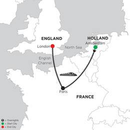 2 Nights Amsterdam, 2 Nights Paris and 3 Nights London (DKEA2020)