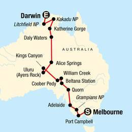 Australia South to North-Melbourne to Darwin
