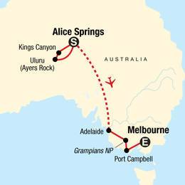The Red Centre to Melbourne Camping and Canyons