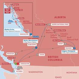Iconic Rockies and Western Canada with Rocky Mountaineer (Silverleaf) and Alaska Cruise Inside Stateroom