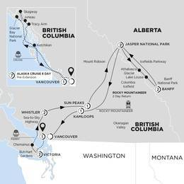 Panoramic Canadian Rockies with Rocky Mountaineer Silverleaf and Alaska Cruise Verandah Stateroom