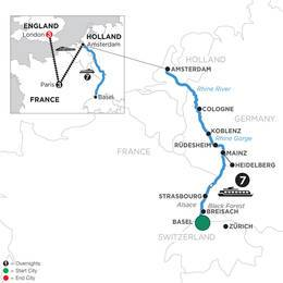 Romantic Rhine with 3 Nights in Paris and 3 Nights in London (Northbound) (WZA12020)