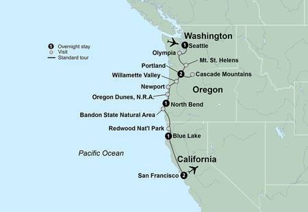 Pacific Northwest & California featuring Washington, Oregon and California