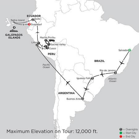 Grand Tour of South America with Salvador and the Galápagos on board the Santa Cruz II (ISGU2020)