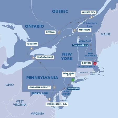 East Coast USA and Canada End Boston