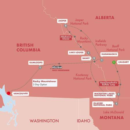 Secrets of the Rockies and Glacier National Park with Rocky Mountaineer GoldLeaf